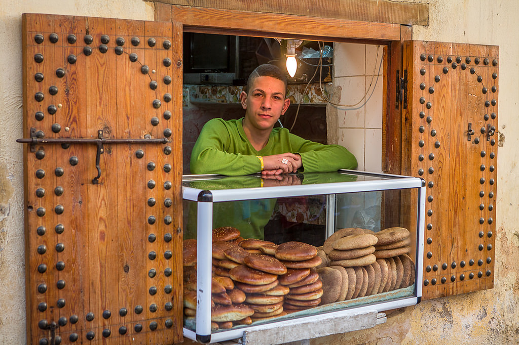 Morocco traditional bread seller