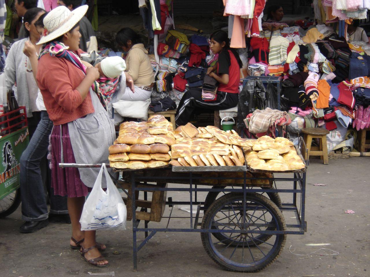 Bolivian market, bread-seller